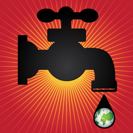 Save Water Concept Present By Black Water Tap and Water Droplet With The Green Planet Earth Inside in Red Shiny Background photo