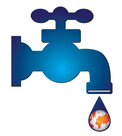 ahorrar agua: Save Water Concept Present Por Blue Water Tap y Gotita de agua Con La Naranja Planeta Tierra en el interior aislado en el fondo blanco