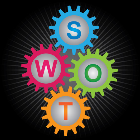 SWOT Analysis For Business Strategy Management Concept Present By Colorful Gear With Colorful S, W, O, T Letter Inside in Black Shiny Background  Banco de Imagens
