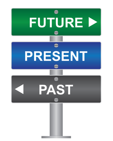 Business and Time Management Concept Present By Green, Blue and Gray Street Sign Pointing to Future, Present and Past Isolated On White Background