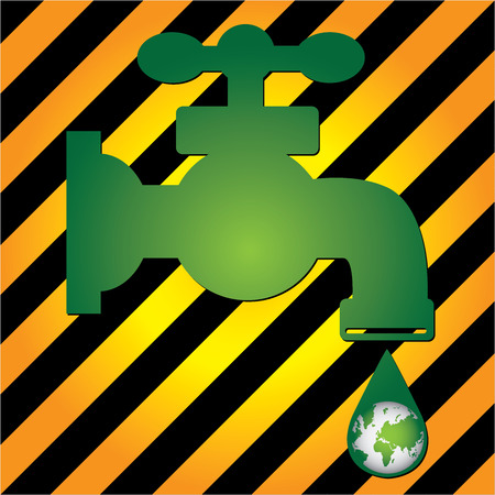 Save Water Concept Present By Green Water Tap and Water Droplet With The Green Planet Earth Inside in Caution Zone Dark and Yellow Background  photo