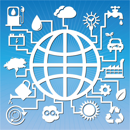 Save The Earth, Stop Global Warming or Recycle Concept Present By The Earth With Group of Ecology or Nature Icon in Blue Shiny Background  photo