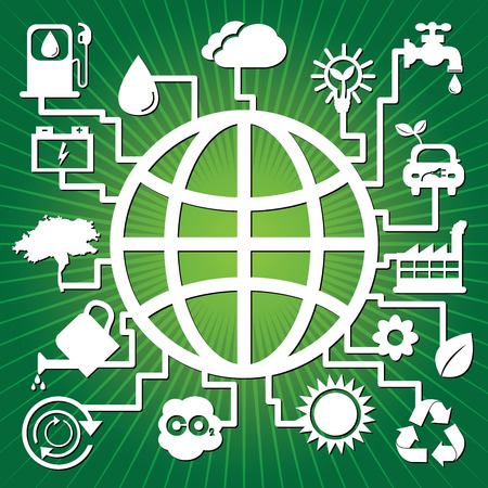 Save The Earth, Stop Global Warming or Recycle Concept Present By The Earth With Group of Ecology or Nature Icon in Green Shiny Background  photo