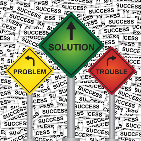 Business and Finance Concept Present By Rhombus Yellow, Green and Red Street Sign Pointing to Problem, Solution and Trouble in Success Label Background  photo