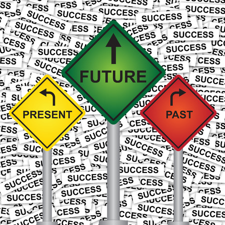 Business and Finance or Time Management Concept Present By Rhombus Yellow, Green and Red Street Sign Pointing to Present, Future and Past in Success Label Background  photo
