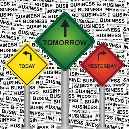 Business and Finance or Time Management Concept Present By Rhombus Yellow, Green and Red Street Sign Pointing to Today, Tomorrow and Yesterday in Business Label Background  photo