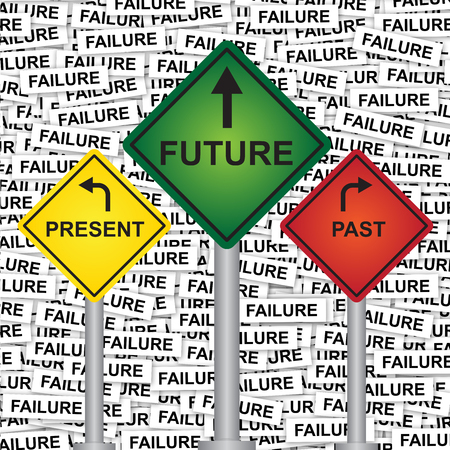 Business and Finance or Time Management Concept Present By Rhombus Yellow, Green and Red Street Sign Pointing to Present, Future and Past in Failure Label Background  photo