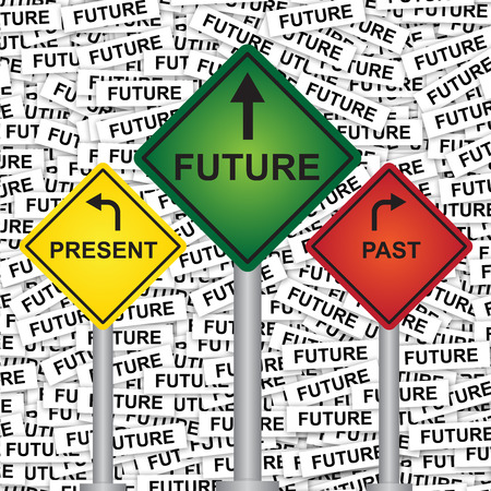Business and Finance or Time Management Concept Present By Rhombus Yellow, Green and Red Street Sign Pointing to Present, Future and Past in Future Label Background  photo