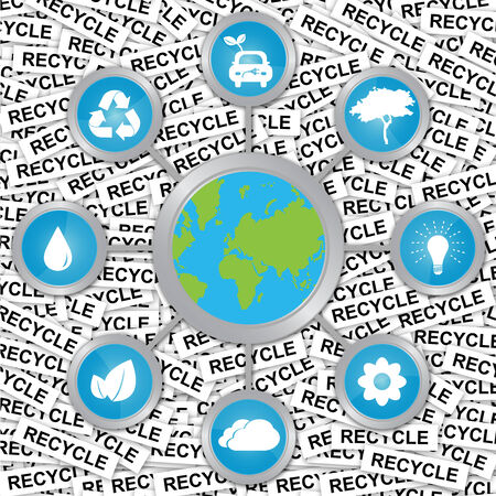 stop global warming: Stop Global Warming and Save The Earth Concept Present By The Earth Connected To Group of Conservation Icon in Recycle Label Background