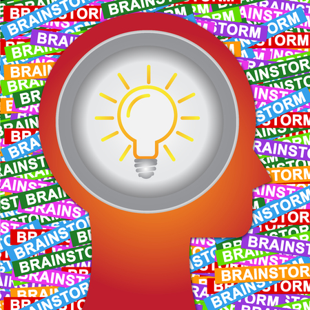 brain storm: Graphic For Business Solution or Business Idea Concept Present By Red Head With Idea or Light bulb Sign Inside With Group of Colorful Brain Storm Label Background  Stock Photo
