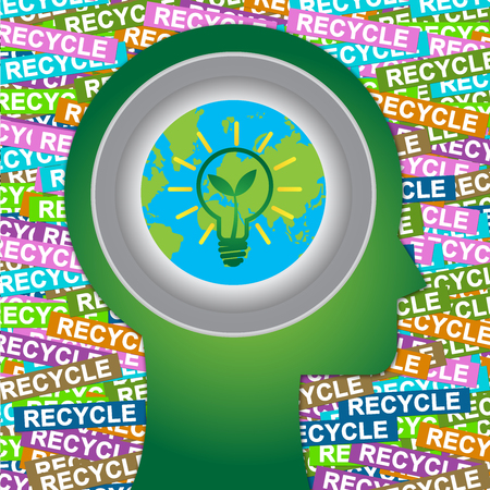 stop global warming: Graphic For Save The Earth or Stop Global Warming Concept Present By Green Head With Earth and Green Light Bulb Sign Inside With Group of Colorful Recycle Label Background