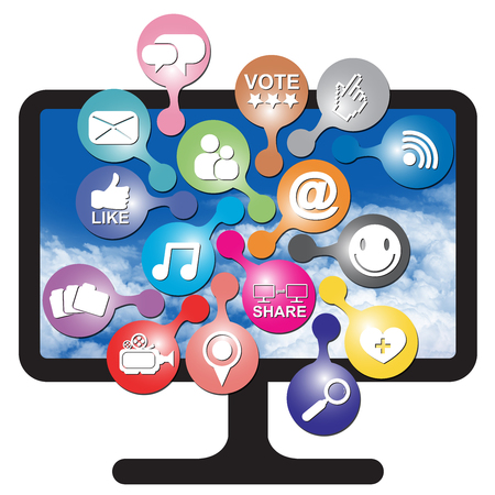Online and Internet Social Network or Social Media Concept Present By Computer LCD or LED Monitor With Group of Colorful Social Media or Social Network Icon Isolated on White Background  photo