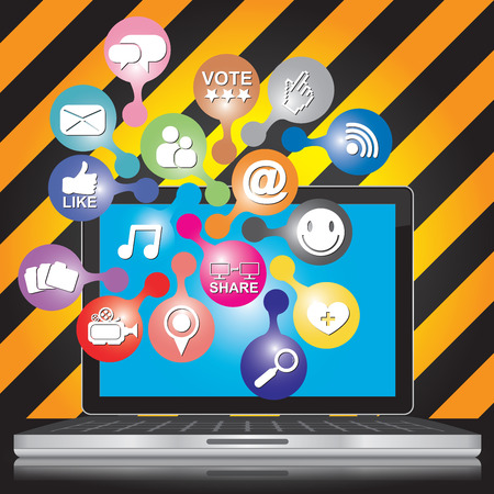 vdo: Online and Internet Social Network or Social Media Concept Present By Computer Laptop With Group of Colorful Social Media or Social Network Icon in Caution Zone Dark and Yellow Background  Stock Photo