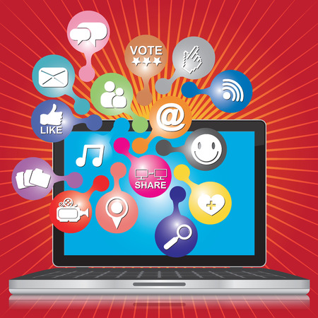 Online and Internet Social Network or Social Media Concept Present By Computer Laptop With Group of Colorful Social Media or Social Network Icon in Red Shiny Background  photo