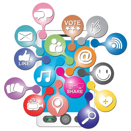 vdo: Online and Internet Social Network or Social Media Concept Present By White Smart Phone With Group of Colorful Social Media or Social Network Icon Isolated on White Background