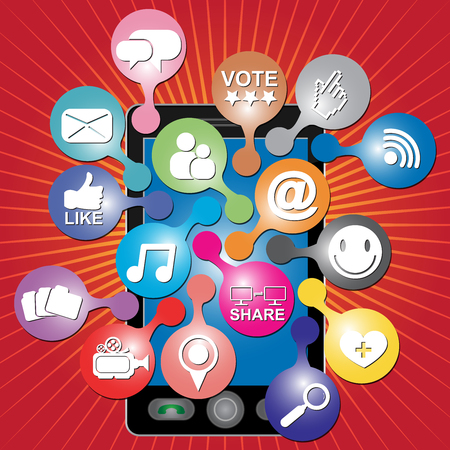 Online and Internet Social Network or Social Media Concept Present By Black Smart Phone With Group of Colorful Social Media or Social Network Icon in Red Shiny Background  photo