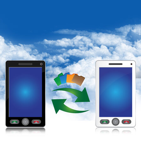 public transfer: Online Communication and Data Transfer Concept Present By Black and White Smart Phone With Data Transfer Icon in Blue Sky Background