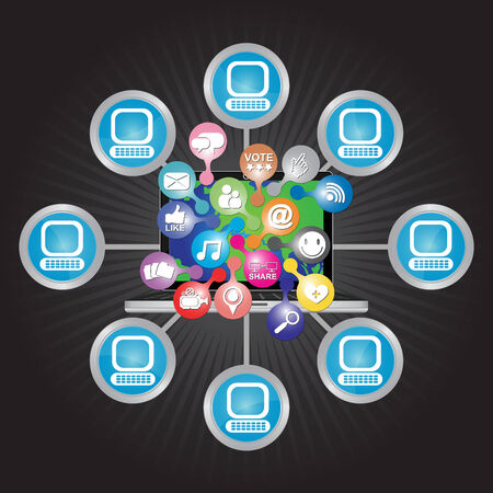 Online and Internet Social Network or Social Media Concept Present By Computer Laptop With Group of Colorful Social Media or Social Network Icon Connected to The Network in Dark Background  photo