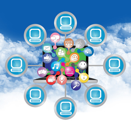 Online Business and E-Commerce Concept Present By Computer Laptop With Group of Colorful E-Commerce Icon Connected to The Network in Blue Sky Background  photo