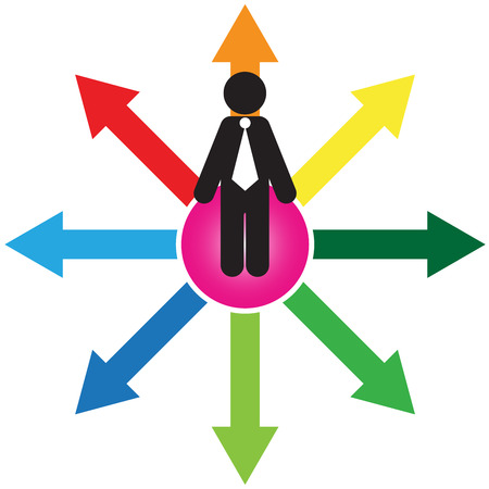 business decision: Business Decision or Business Direction Concept Present By Businessman Standing on Colorful Arrow and Trying To Make A Choice Isolated on White Background  Stock Photo