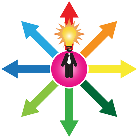business decision: Business Decision or Business Direction Concept Present By Businessman With Light Bulb Head Standing on Colorful Arrow and Trying To Make A Choice Isolated on White Background