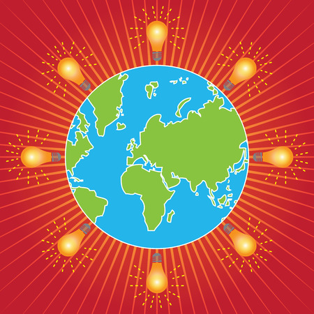 stop global warming: Save The Earth, Stop Global Warming, Environmental Or Green Concept Present By The Earth With Light Bulb Around in Red Shiny Background Stock Photo