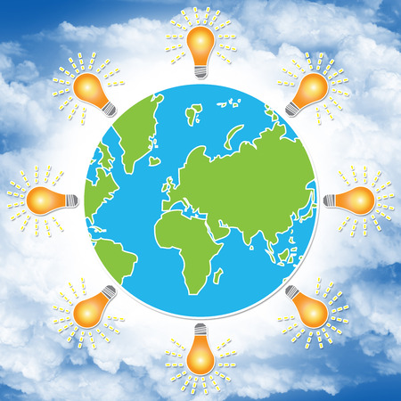 stop global warming: Save The Earth, Stop Global Warming, Environmental Or Green Concept Present By The Earth With Light Bulb Around in Blue Sky Background