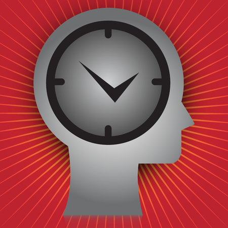 overtime: Business and Time Management Concept Present By Head With Wall Clock Inside in Red Shiny Background