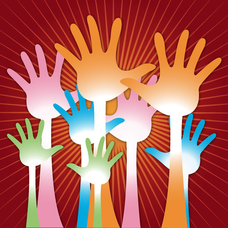 The Colorful Raised Hands For Volunteer, Election Or Voting Concept in Red Shiny Background  photo