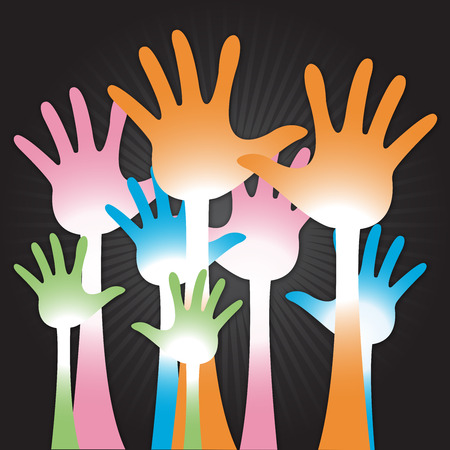 The Colorful Raised Hands For Volunteer, Election Or Voting Concept in Black Shiny Background  photo