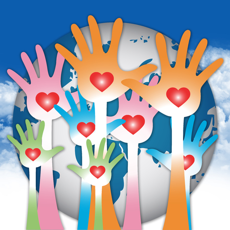 The Blue Globe and Colorful Raised Hands With Red Heart Inside For Volunteer Or Giving Concept in Blue Sky Background  photo