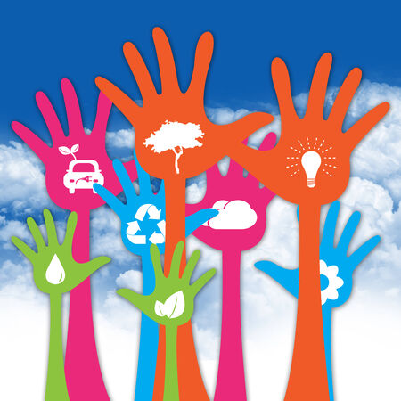 Colorful Raised Hands With White Icon Inside For Think Green Or Sustainable Development   Environment Concept in Blue Sky Background photo