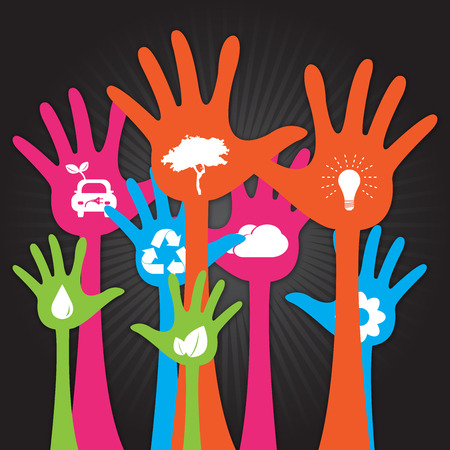Colorful Raised Hands With White Icon Inside For Think Green Or Sustainable Development   Environment Concept in Black Shiny Background  photo