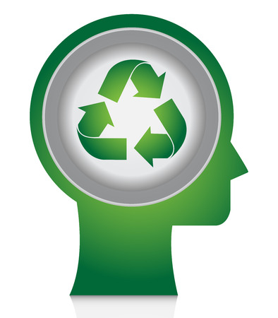 stop global warming: Save The Earth, Stop Global Warming Or Recycle Concept Present By Head With Green Recycle Sign Isolate on White Background Stock Photo