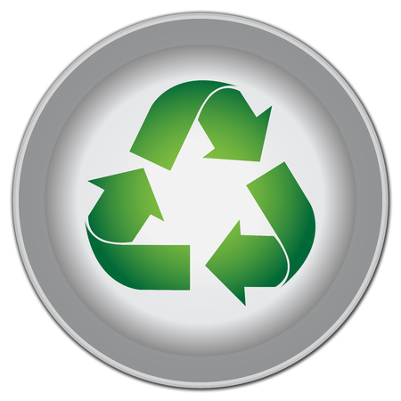 Save The Earth, Stop Global Warming Or Recycle Concept Present By Circle Icon With Green Recycle Sign Isolate on White Background photo