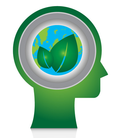 stop global warming: Save The Earth, Stop Global Warming Or Recycle Concept Present By Head With Earth and Green Leaf Icon Inside Isolate on White Background