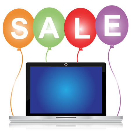 sell out: Graphic For Special Promotion Campaign, Colorful Sale Balloons With Blank Computer Laptop You Can Type Your Own Message on The Screen Isolated on White Background  Stock Photo