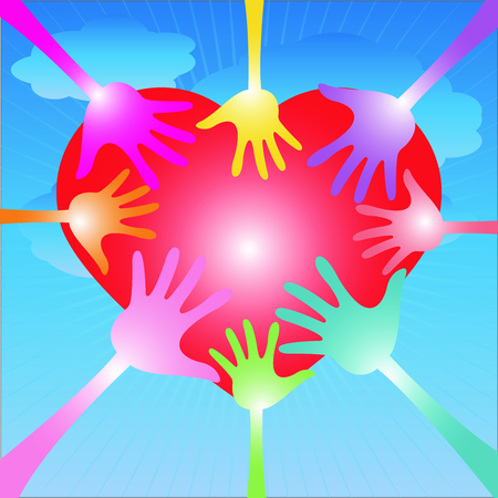 Family or Love Concept Present By Colorful Hand Around Red Heart in Blue Sky Background  photo