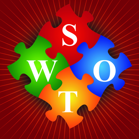 Marketing or Business Concept Present By Four Pieces of Colorful SWOT Puzzle in Red Shiny Background  photo