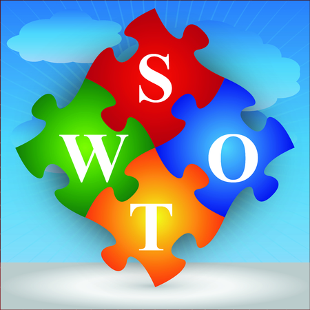 Marketing or Business Concept Present By Four Pieces of Colorful SWOT Puzzle in Blue Sky Background  photo
