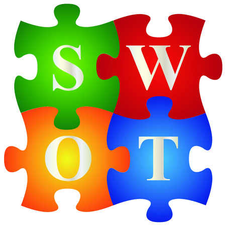 Marketing or Business Concept Present By Four Pieces of Colorful SWOT Puzzle Isolated on White Background  photo