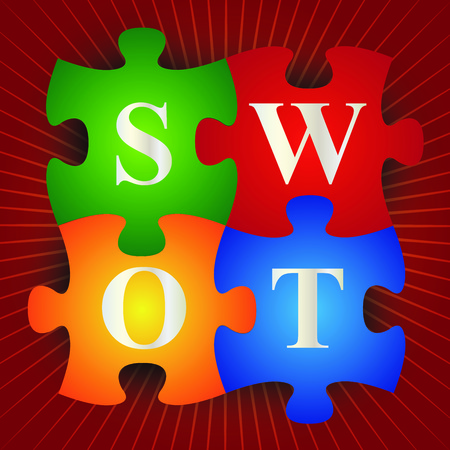 Business and Marketing Concept Present By Colorful SWOT Puzzle in Red Shiny Background  photo