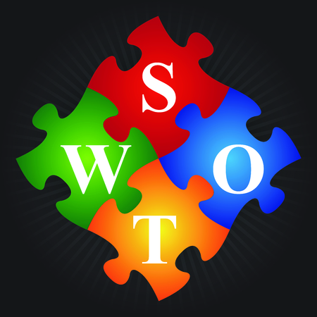 Marketing or Business Concept Present By Four Pieces of Colorful SWOT Puzzle in Black Shiny Background  photo