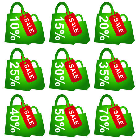 Green Shopping Bag With Red Sale Tag and 10 - 70 Percent Discount Isolated on White Background  photo