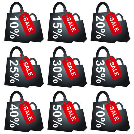 cheaper: Black Shopping Bag With Red Sale Tag and 10 - 70 Percent Discount Isolated on White Background  Stock Photo