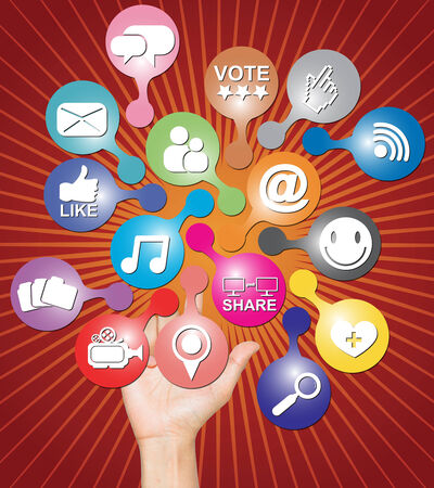 compatibility: Online Communication Or Social Network Concept Present By Hand With Group of Colorful Social Network Icon in Red Shiny Background