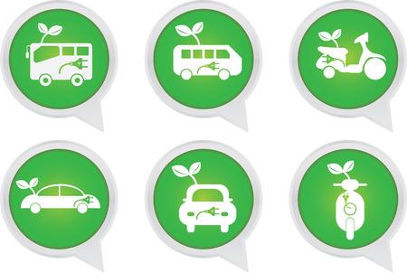 Alternative Transportation Technology Concept Present By White Hybrid Transportation Vehicles Sign on Green Icon Set Isolated on White Background  photo