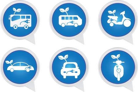Alternative Transportation Technology Concept Present By White Hybrid Transportation Vehicles Sign on Blue Icon Set Isolated on White Background  photo
