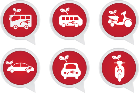 Alternative Transportation Technology Concept Present By White Hybrid Transportation Vehicles Sign on Red Icon Set Isolated on White Background  photo