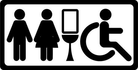 unisex: Negro Unisex rect�ngulo de papel higi�nico o de ba�os de hombres, mujeres y discapacitados signo aislado en el fondo blanco